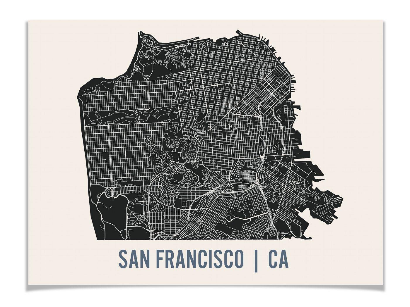art print modern minimalist map poster