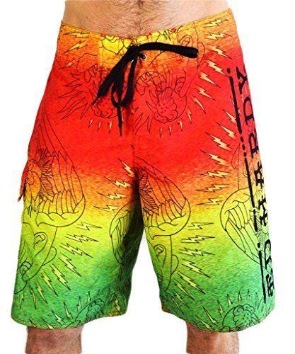 8e2e9c8ca693 Ed Hardy Men s Boardshorts Swim Trunks Lightning Tiger Rasta Small Size  28-30