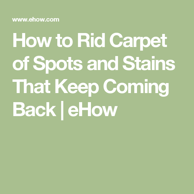 How To Rid Carpet Of Spots And Stains That Keep Coming Back Ehow