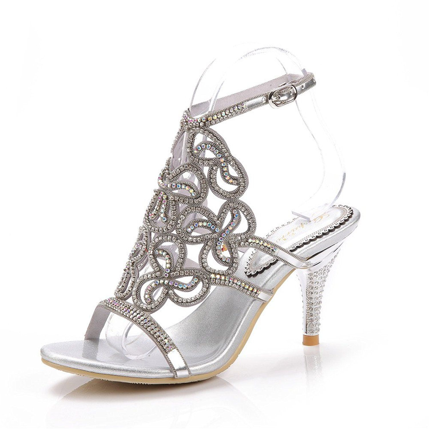 0d2a02726531 Unicorelle Women s Crystal Rhinestone with Adjustable Sling Peep Toe Open  Back Stiletto Evening Sandals    Visit the image link more details.