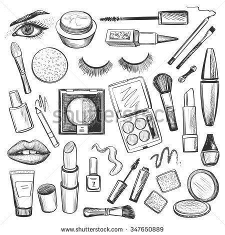 Hand Drawn Beauty And Makeup Icons Set With Mascara Lipstick Creams Nail Polish Powder Eye S Maquillaje Iconico Cuadernos De Bocetos Paginas Para Colorear