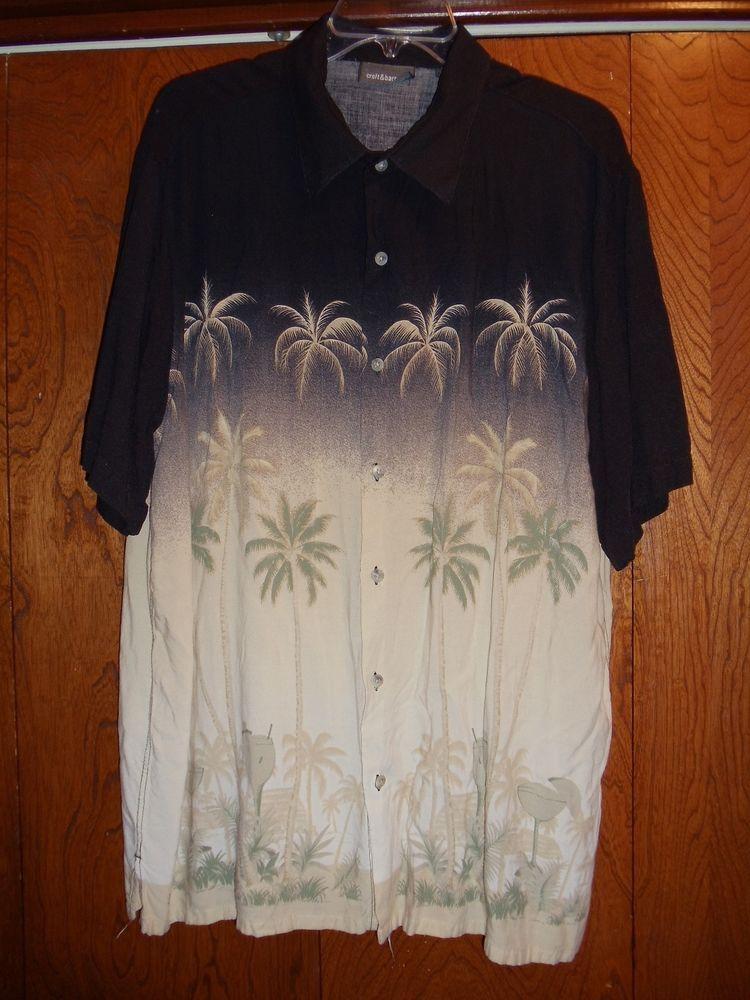 Croft Barrow Men S Xl Black And Tan Hawaiian Shirt Palm Trees