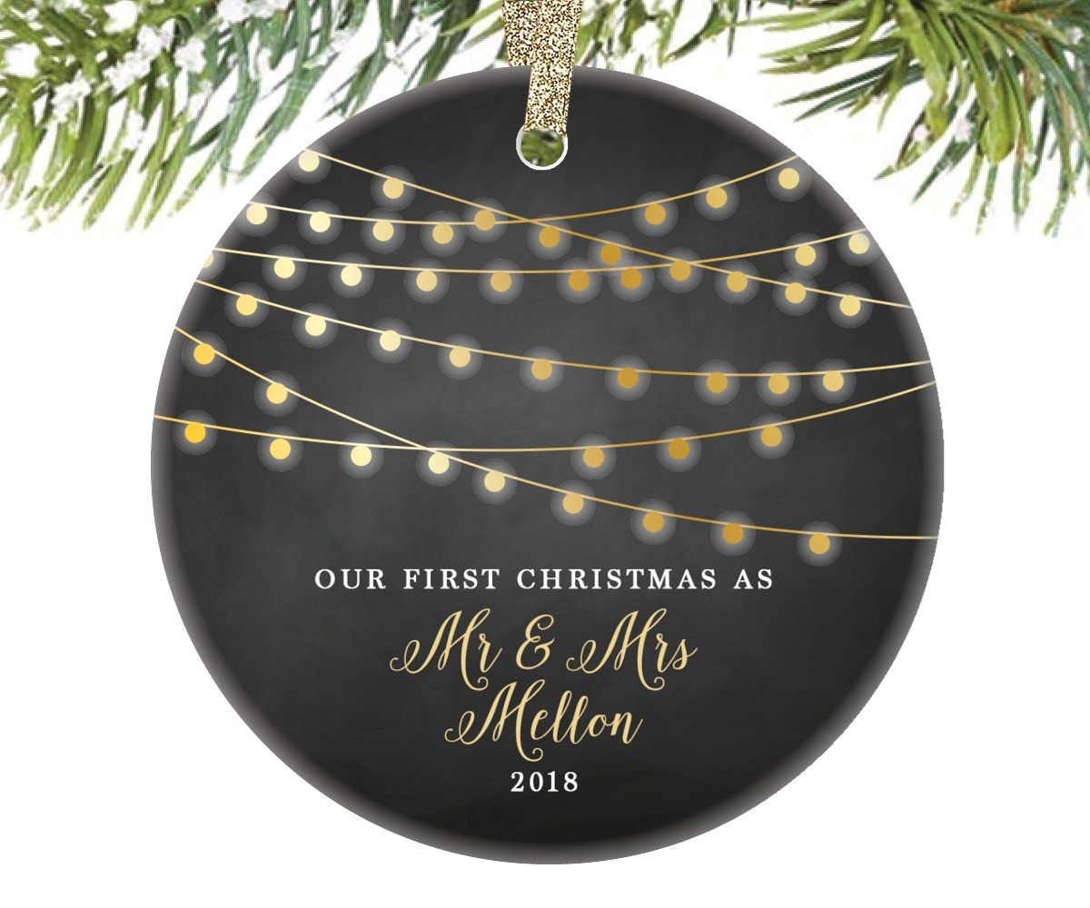 97cdf5fdafc Our First Christmas as Mr and Mrs Keepsake Ornament in black with gold  string lights, 3