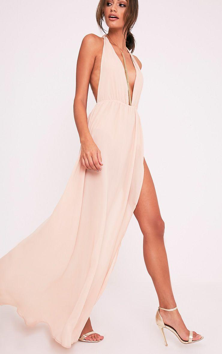 b6997fb1c7 Alina Nude Plunge Maxi Dress Image 1