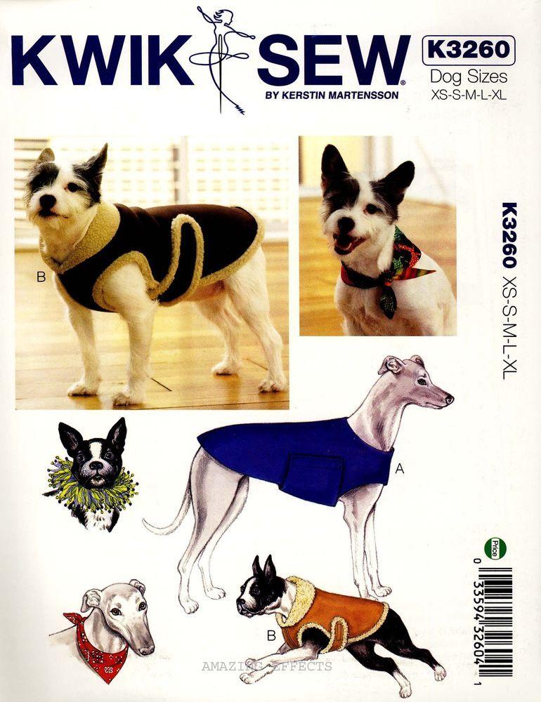 Kwik Sew Sewing Pattern K3260 Dog Coats XS-XL Bandana party Collar ...