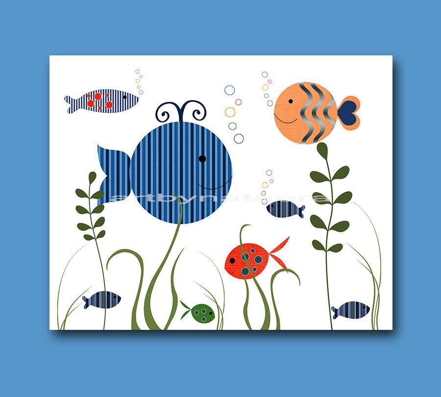 Mar bebé vivero decoración, arte niños, arte de la pared de los ...