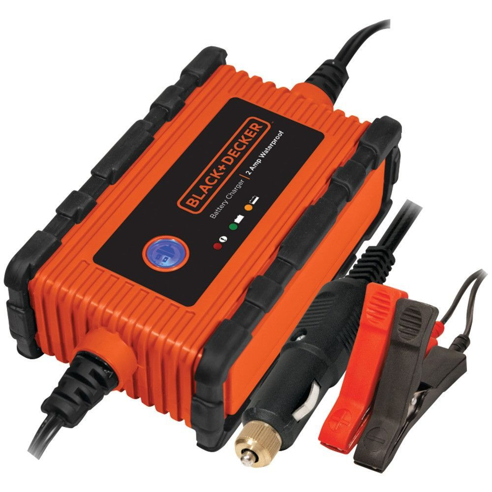 Black Decker Waterproof Battery Charger And Maintainer 2 Amps 0a 2a Fully Automatic Battery Cha Automatic Battery Charger Car Battery Chargers Car Battery