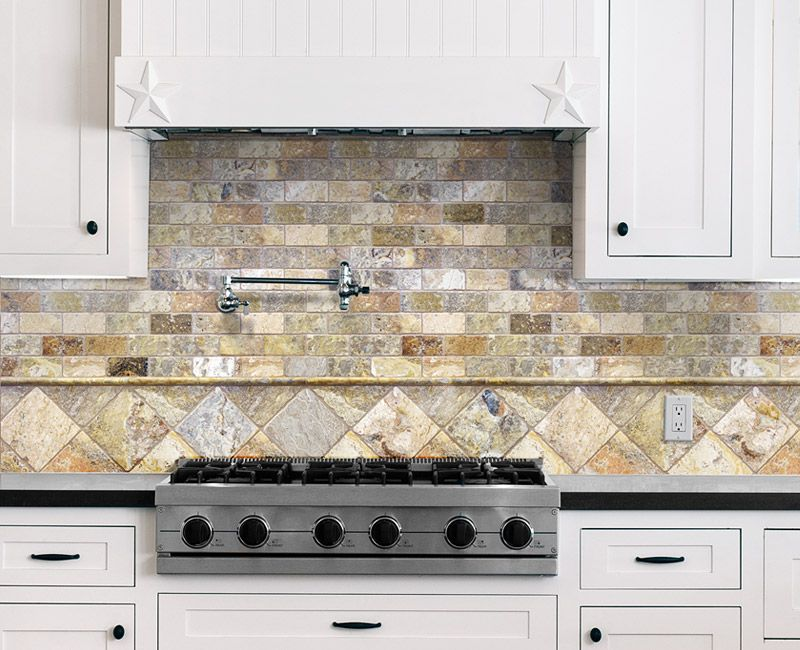 Scabos Travertine Backsplash - Anatolia Tile