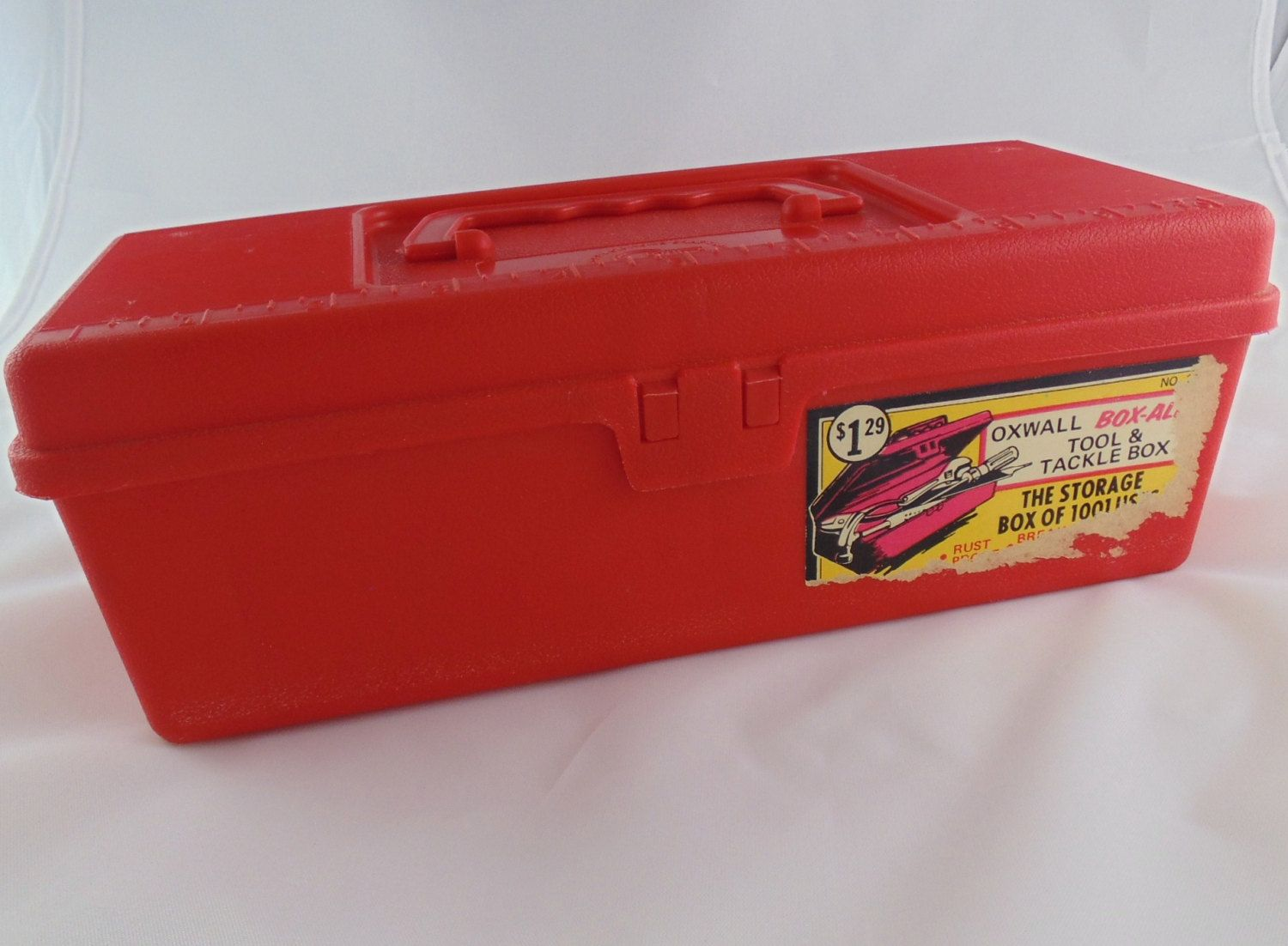 Vintage Red Plastic Tool Tackle Box Storage Box Stash Box Arts And