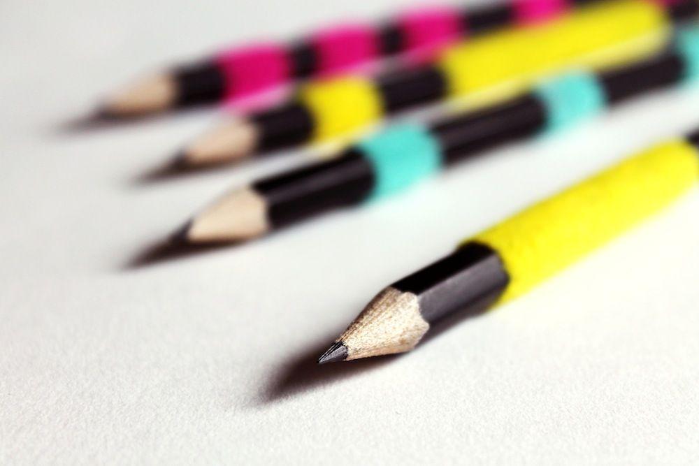 DIY fuzzy pencils. #stripes #neon