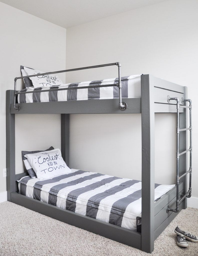 Loft bed with stairs diy  Double your sleeping space with these easy to build DIY Industrial