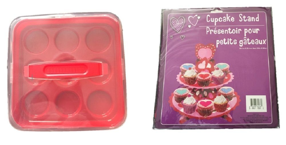 Cupcake holder set red plastic no bpa 9 piece