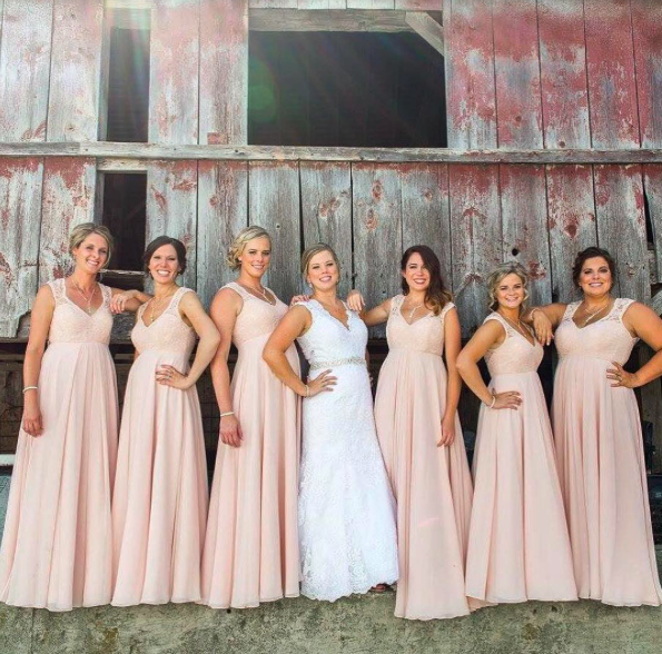 f9abc7b38638c Stunning Blush Bridal Party in Morilee by Madeline Gardner Bridesmaid Dress  Style 693. Delicate lace cap sleeves onto flowy chiffon A-Line.