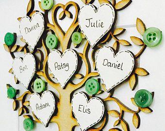 Árbol familiar Blanco Personalizado Marco 3D aniversario de boda de regalo de Navidad