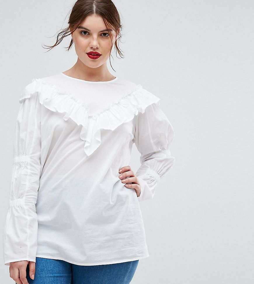 fc37512f5a482c CURVE Cotton Top with Frill Detail & Ruched Sleeve | Products | Asos ...