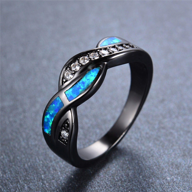 New Fashion Blue Fire Opal CZ Diamond Cross Rings For Women Men