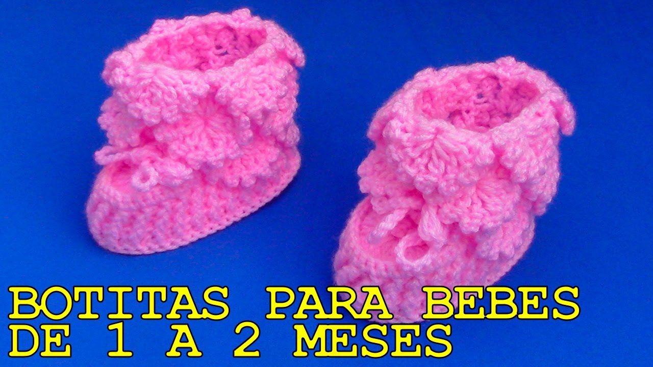 Botitas tejidos a crochet para bebes de 1 a 2 meses - paso a paso ...