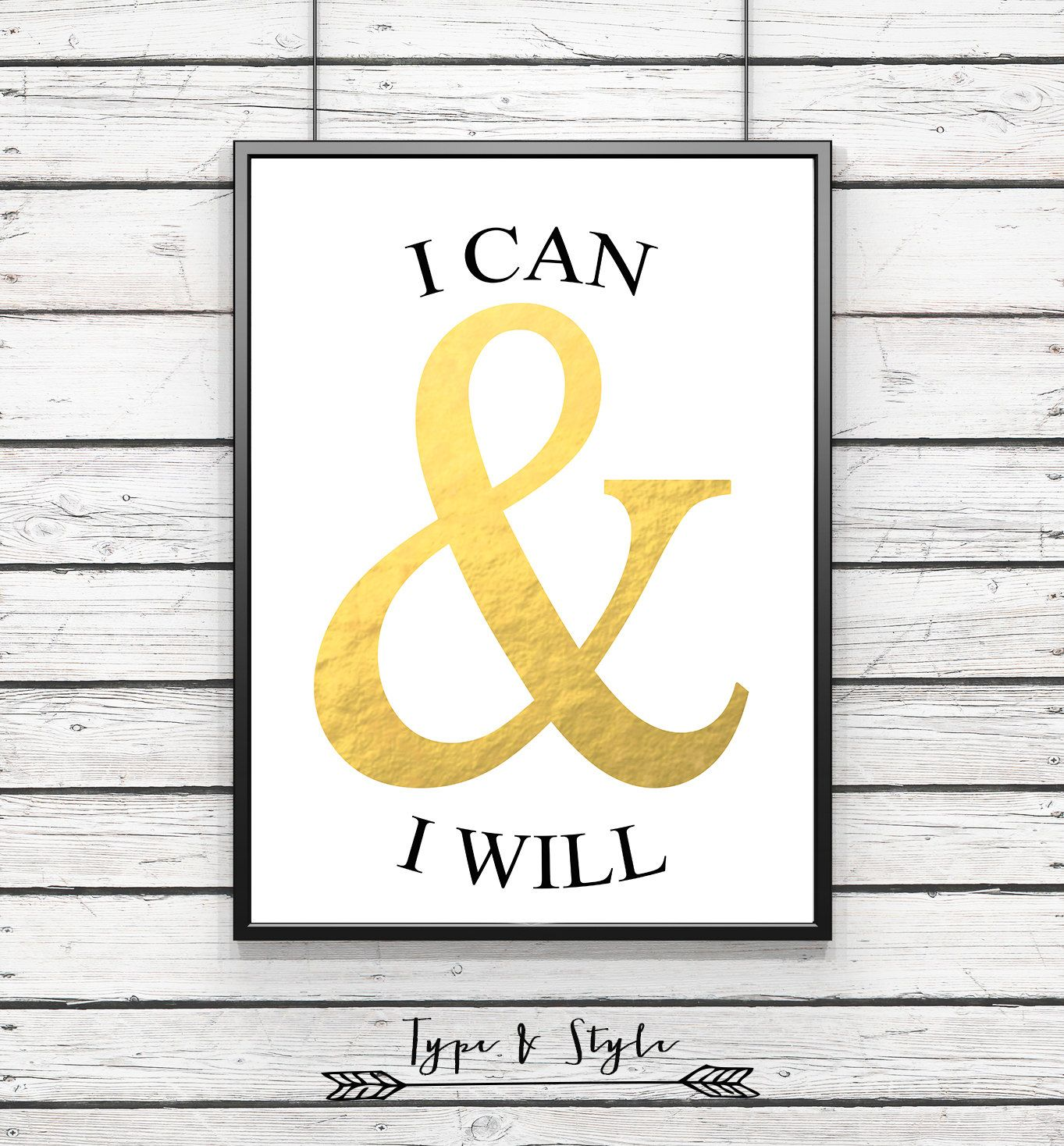 I can and Will Gold Ampersand Framed Poster - Framed Digital Art ...