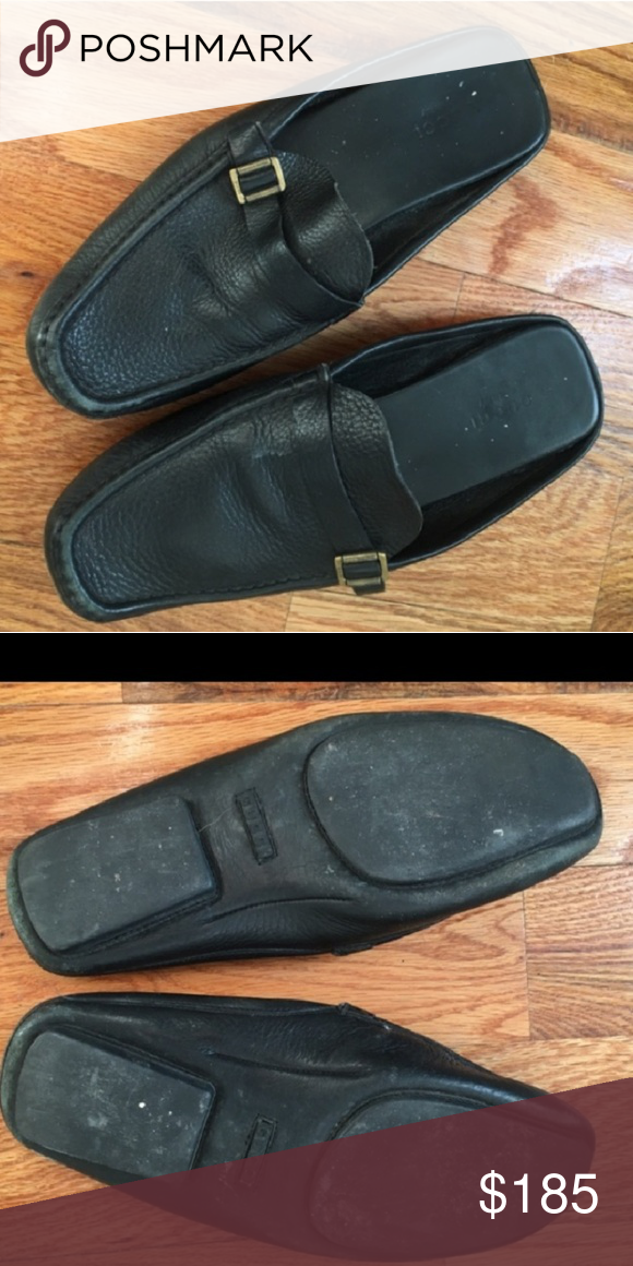 bbd10d19c79 Authentic Vintage Gucci shoes Pre loved vintage Gucci black leather  backless shoes. Scuffs on leather but a cobbler and some show shine may  help.