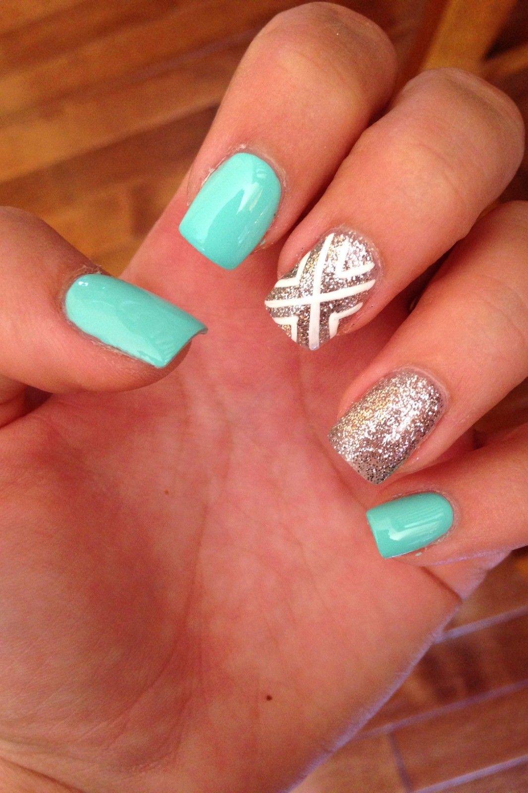 31 Cute Nail Designs In 2020 Short Acrylic Nails Designs Teal Nails Teal Acrylic Nails
