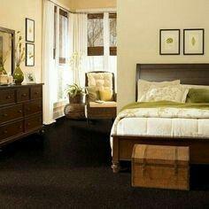 Beautiful Yellow Beige Paint W/dark Brown Carpet (Living Room?)