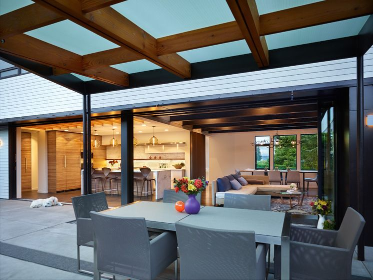 Contemporary Covered Pergola Roof Cover Made From Translucent Polycarbonate Sheets By Polygal Recycled Polycarbona Contemporary Patio Pergola Terrace Design