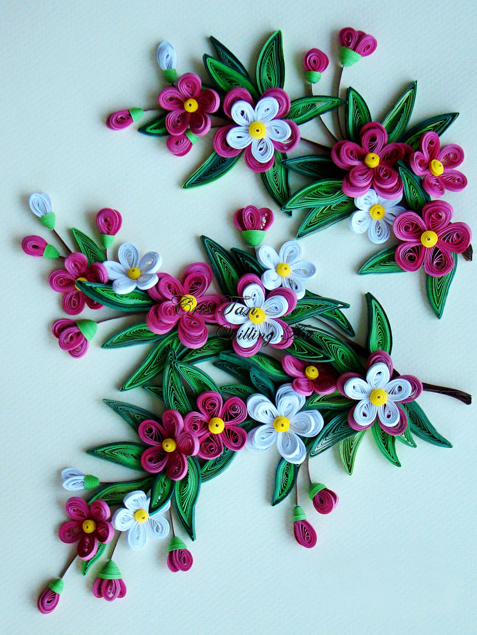 Quilled flowers leaves paper quilling pinterest for Paper quilling designs