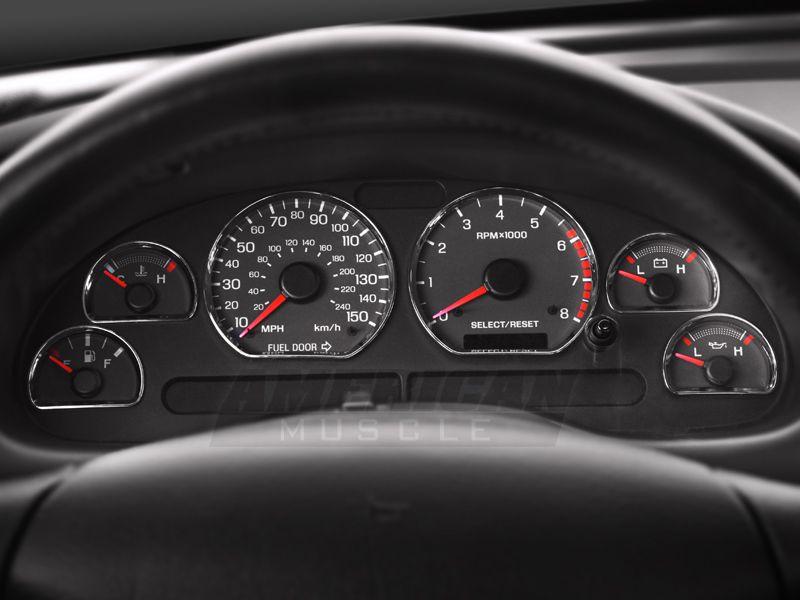 Modern Billet Mustang Chrome Gauge Ring Bezels 99015 94 04 All Mustang Interior New Edge Mustang Mustang