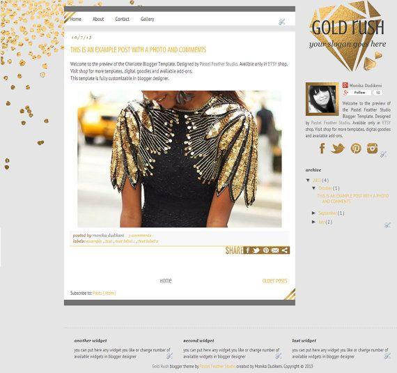Gold Rush Blogger Template -multipurpose blog design -blogger blog template - custom blog design - premade template - black gold - webdesign