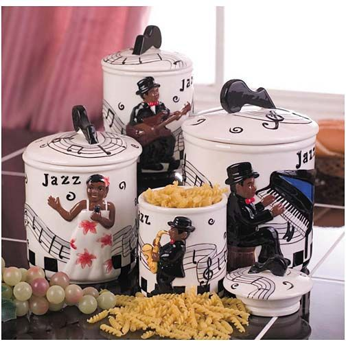 Jazz band 4 pc canister set in 2019  Art  Kitchen decor