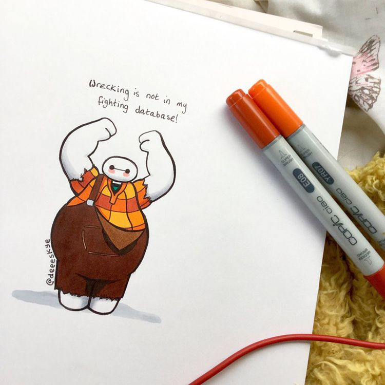 Illustrations Of Baymax From Big Hero Dressed As Other Popular - Baymax imagined famous disney characters