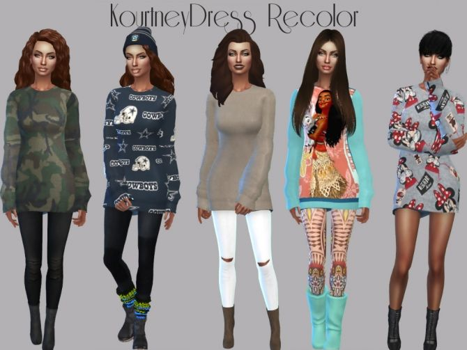 Favori Kourtney Sweater Dress Recolor at Teenageeaglerunner • Sims 4  PA21
