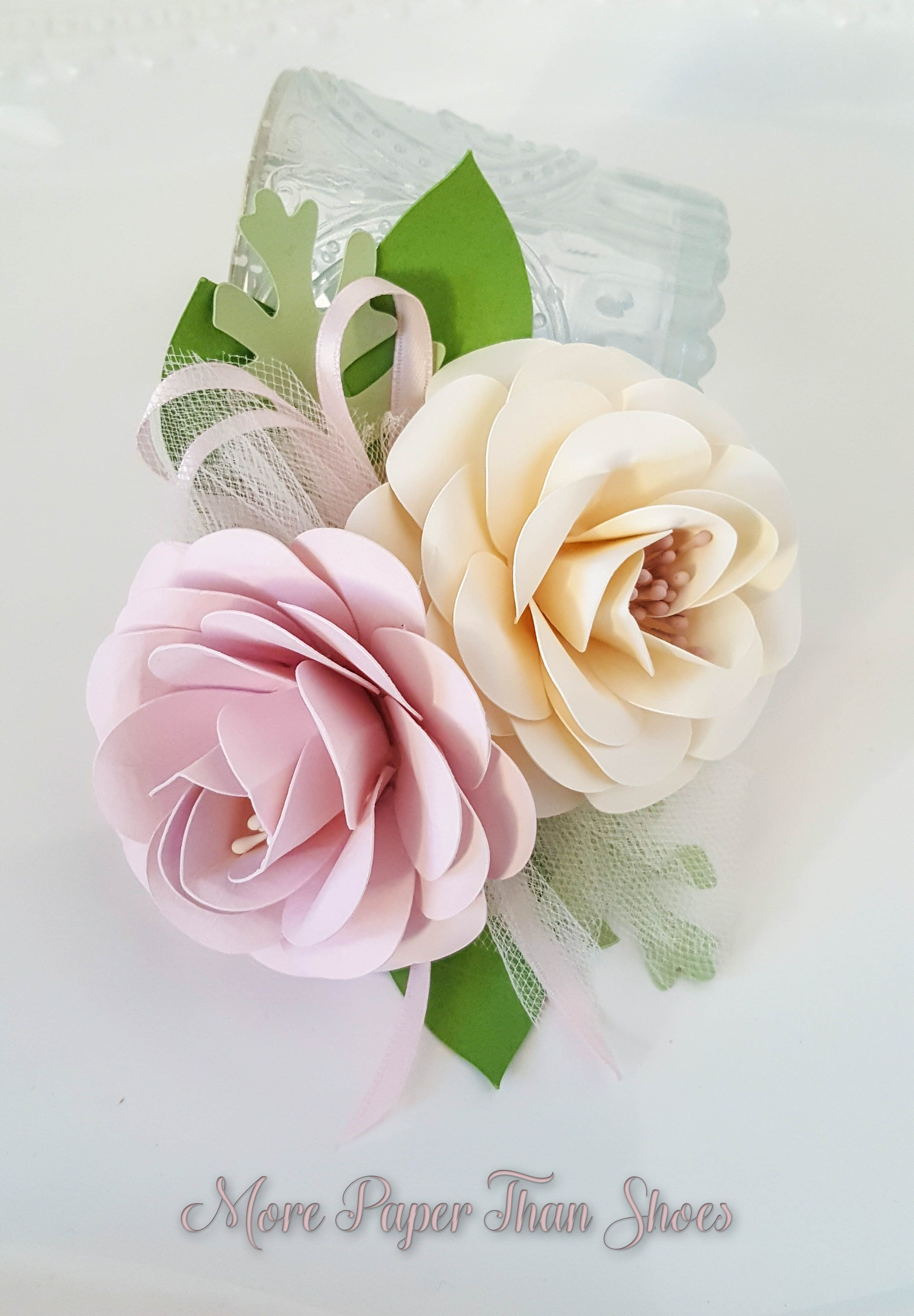 Paper Flower Corsage Pink And Ivory Wedding Corsages Mother