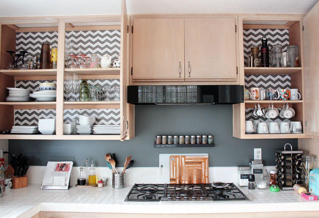 Love Lace Chevron Cabinet Update Kitchen Cabinet Shelves Kitchen Shelf Liner Kitchen Cabinet Plans
