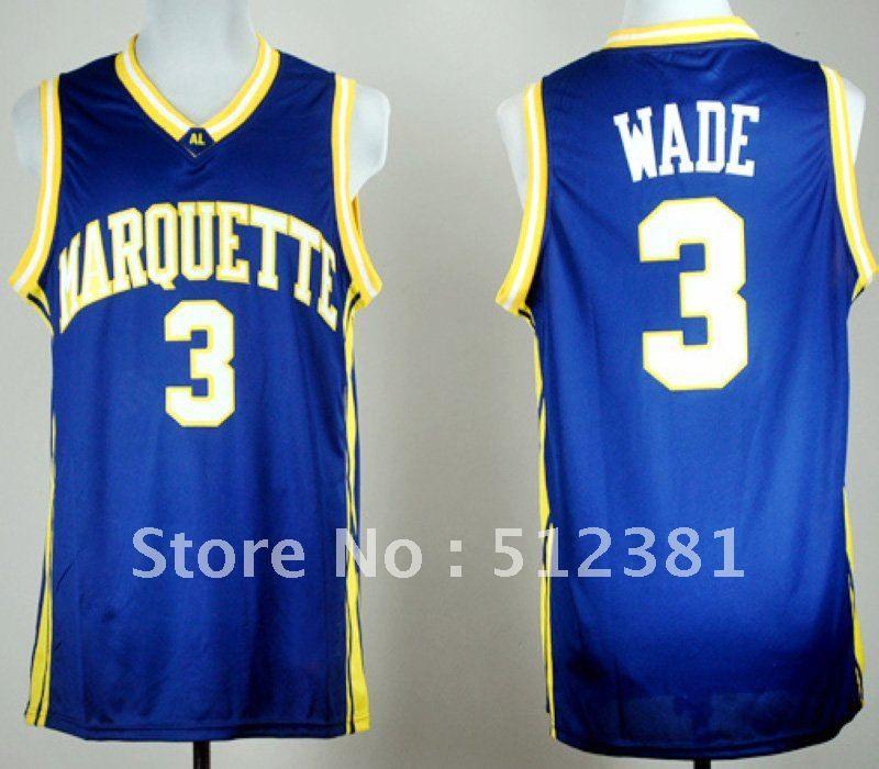 new style 5820e 56911 Free Shipping!!! #3 Dwyane Wade Marquette University blue ...