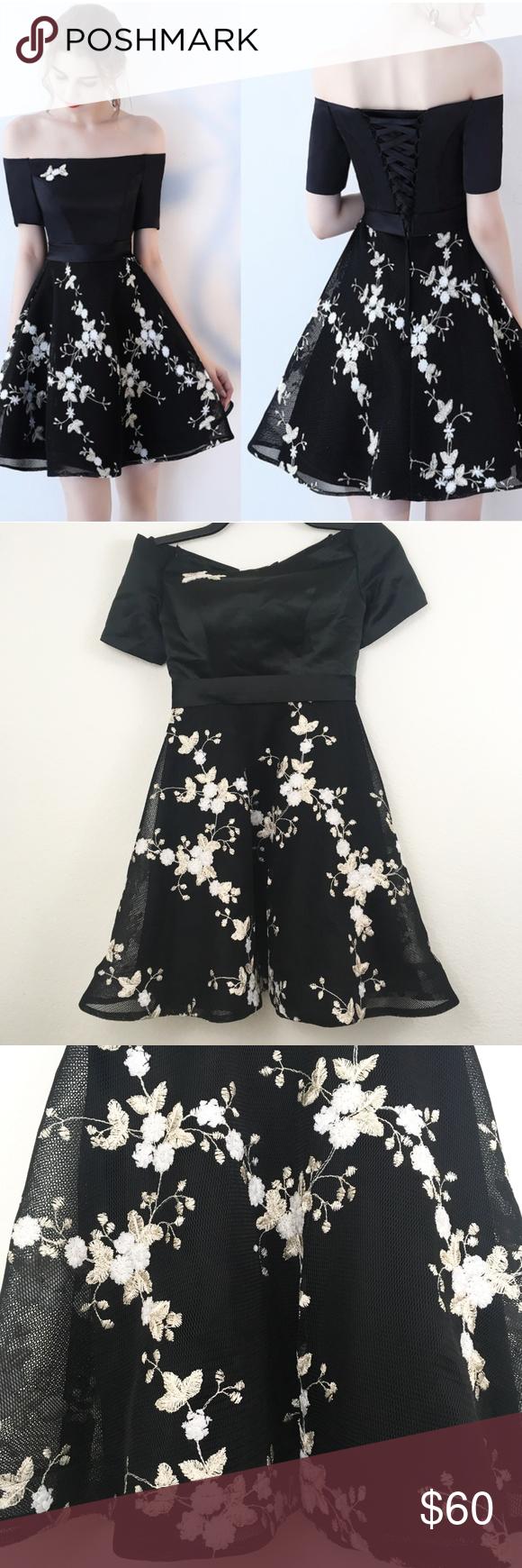 Metisu Off The Shoulder Embroider Floral Dress Xs Black Off The Shoulder Dress With White And Gold Embroidered Fl Floral Embroidered Dress Floral Dress Dresses [ 1740 x 580 Pixel ]