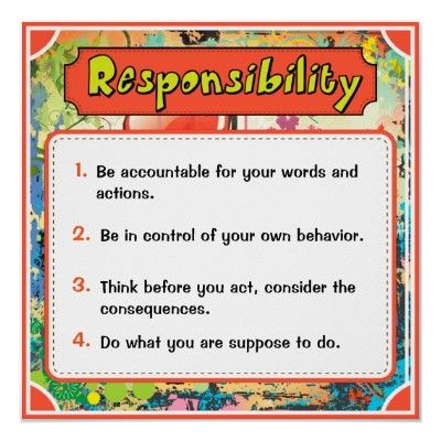Character Traits Posters, Responsibility - 6 of 6 Poster Positive
