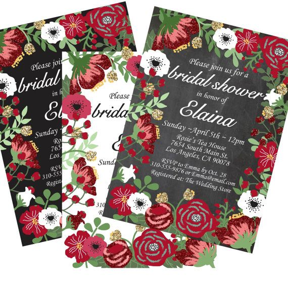 pretty floral rose peony white black red maroon gold glitter chalkboard bridal shower invitation christmas party invite holiday baby shower engagement
