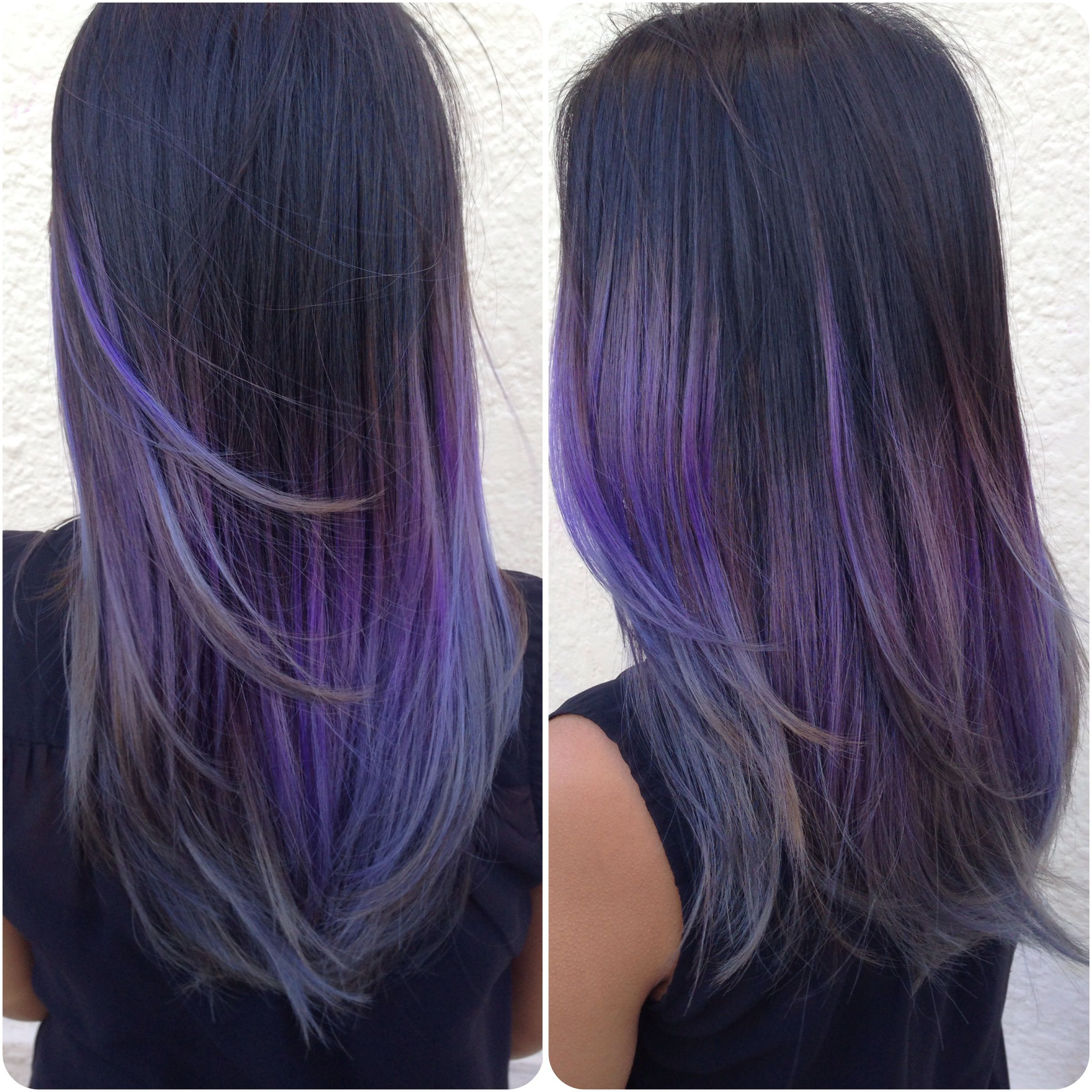 Purple To Silver Ombre Hair Color Purple Purple Hair Balayage Hair