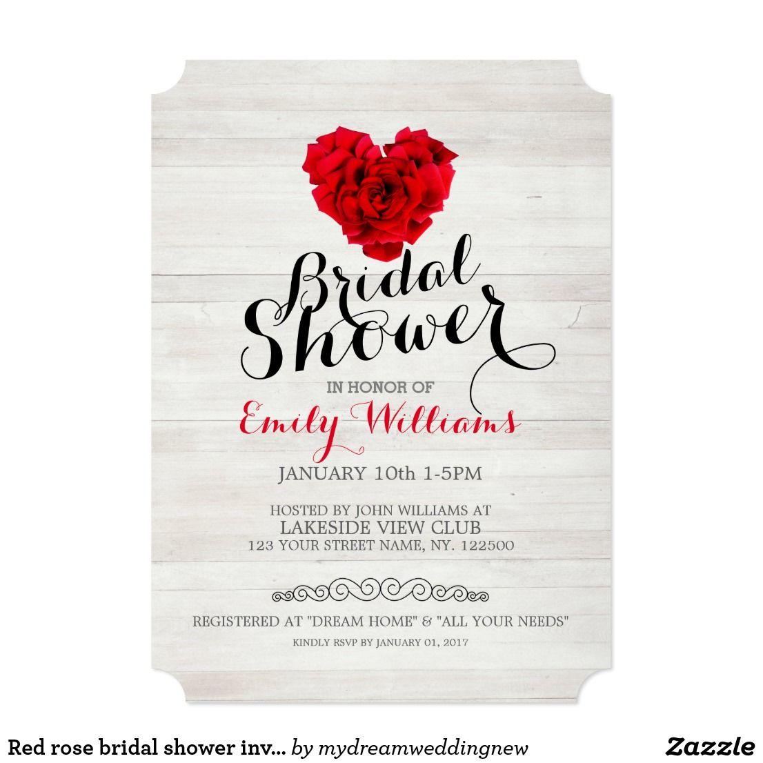 Red rose bridal shower invitation   Invites wedding, Bridal showers ...