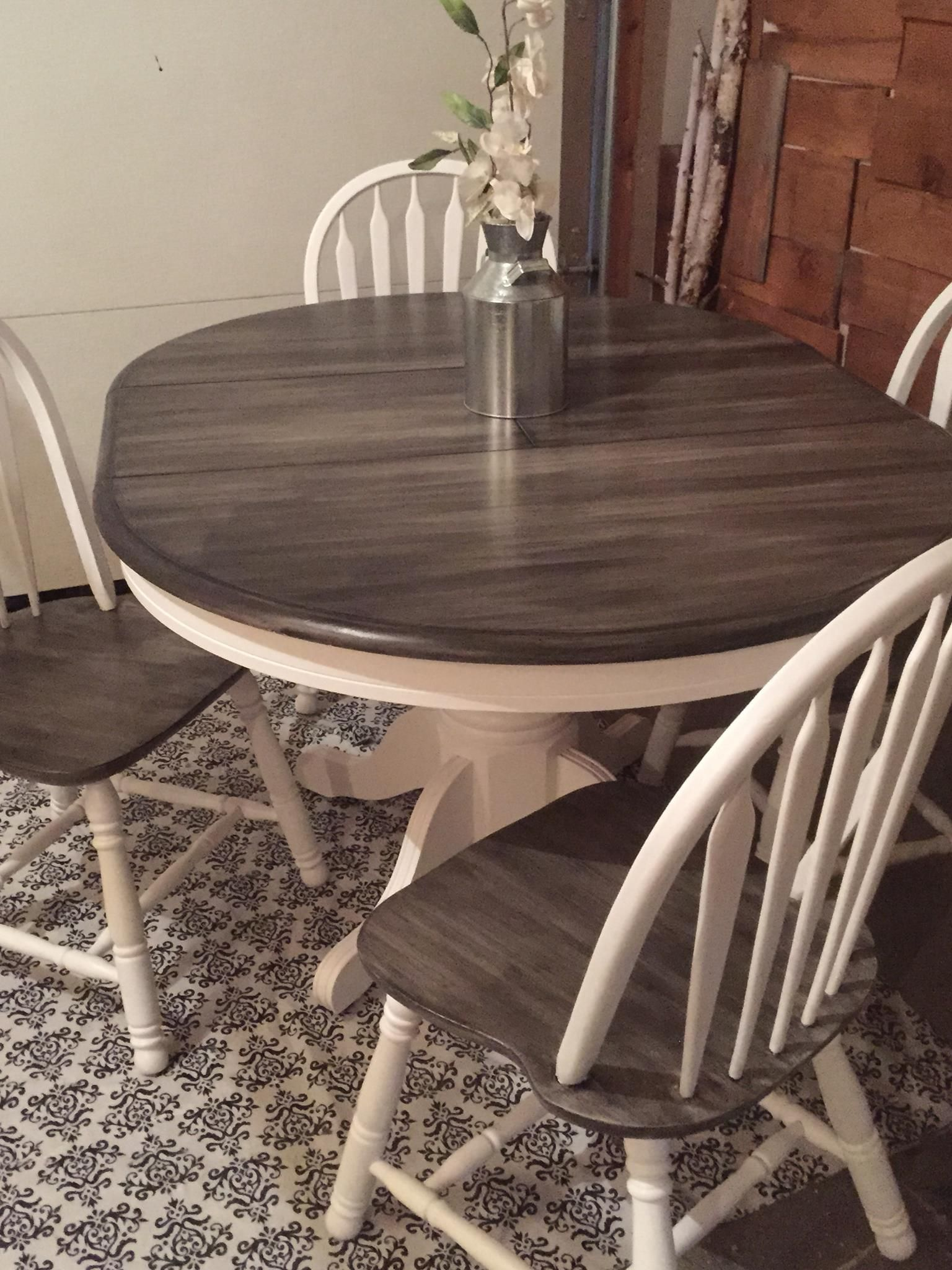 Snow white milk paint with pitch black glaze effect dining set glaze furniture rehab