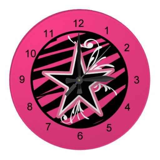 KRW Pink and Black Zebra Star Diva Wall Clock