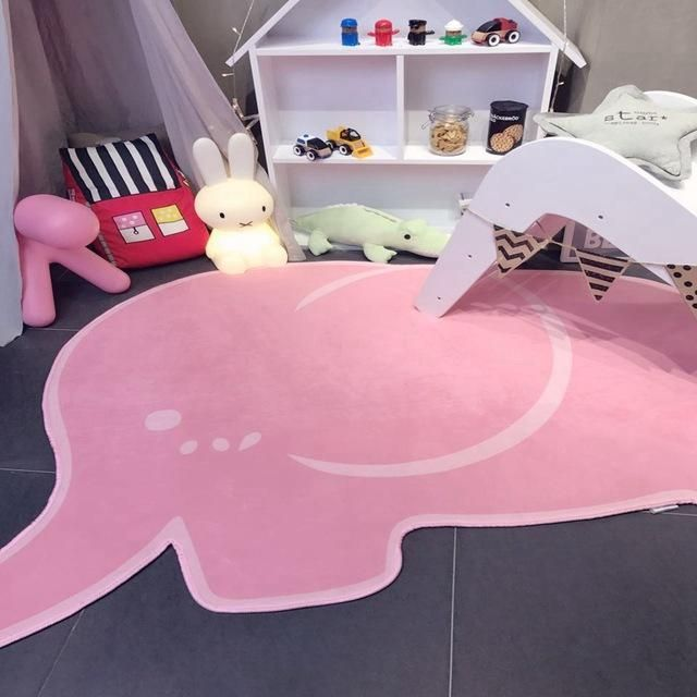 Cute Elephant Shape Pink / Grey Rug Mat | Grey rugs and Products