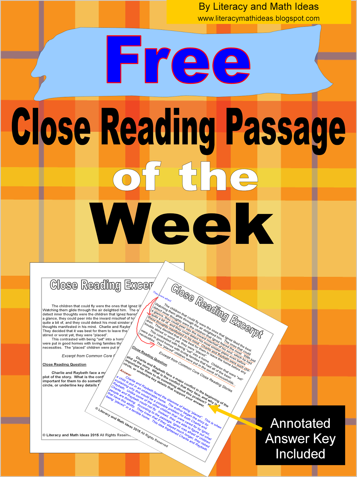 Free Close Reading Passage of the Week~An Annotated Key Is