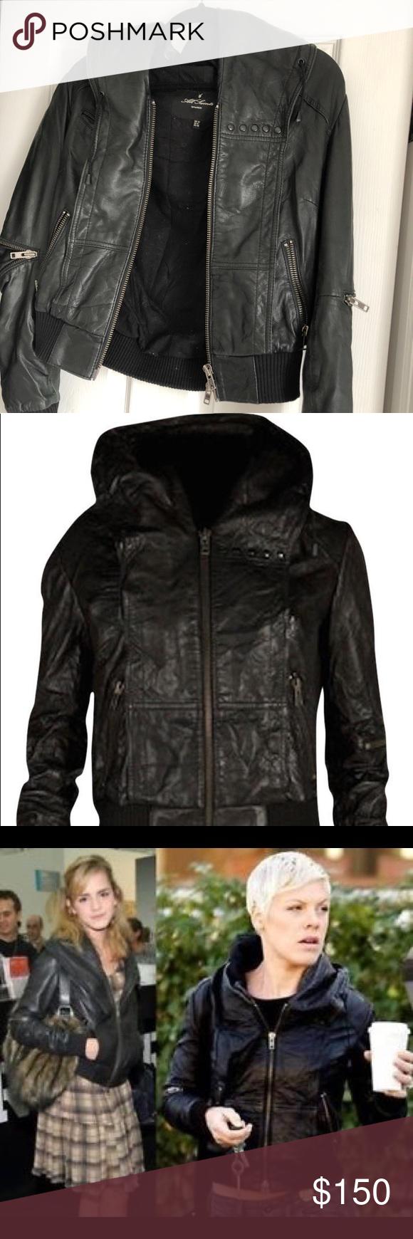 68728cc60 Allsaints cobra hooded leather bomber jacket Allsaints black cobra ...