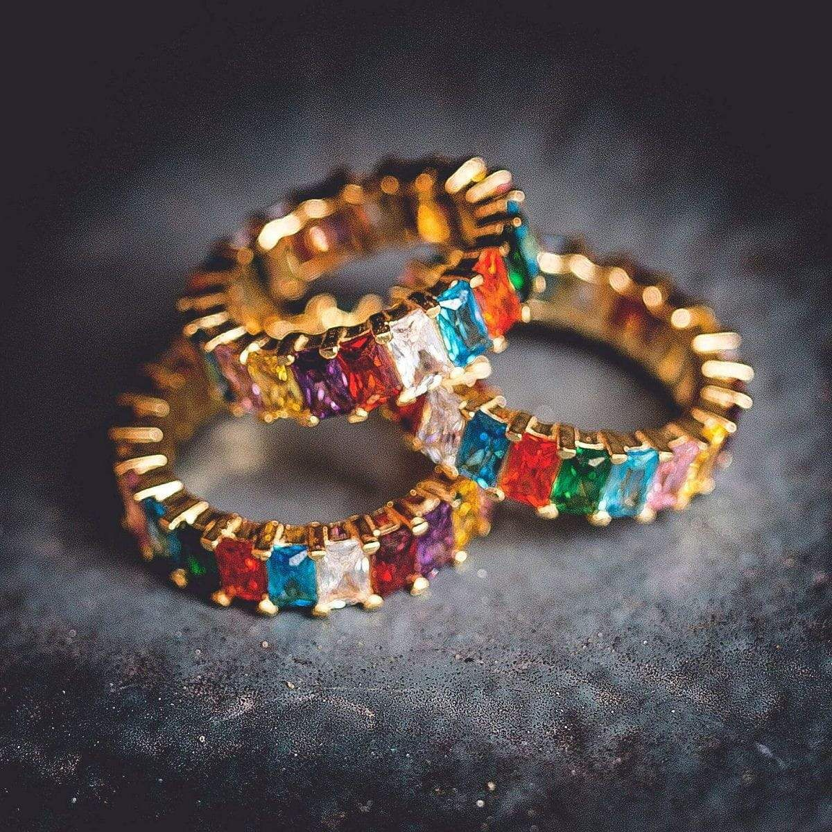 Baguette Ring w/ MultiColored Stones in 2020 White gold