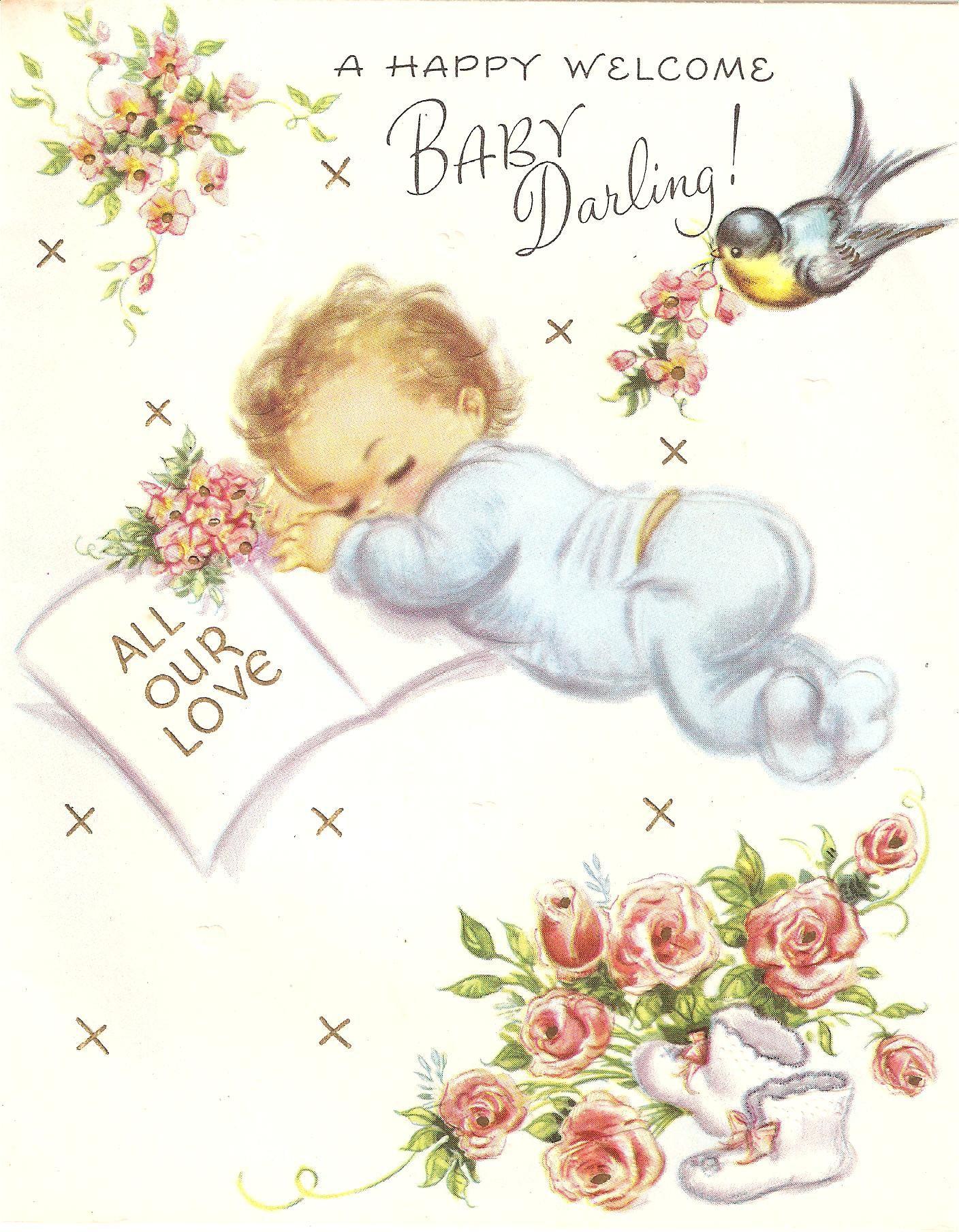 baby greeting card  circa 1960's  baby greeting cards