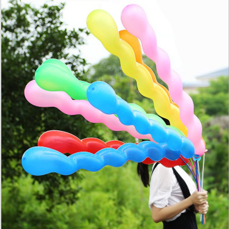 100pcs long spiral party balloon inflat colourful birthday ceremony decoration