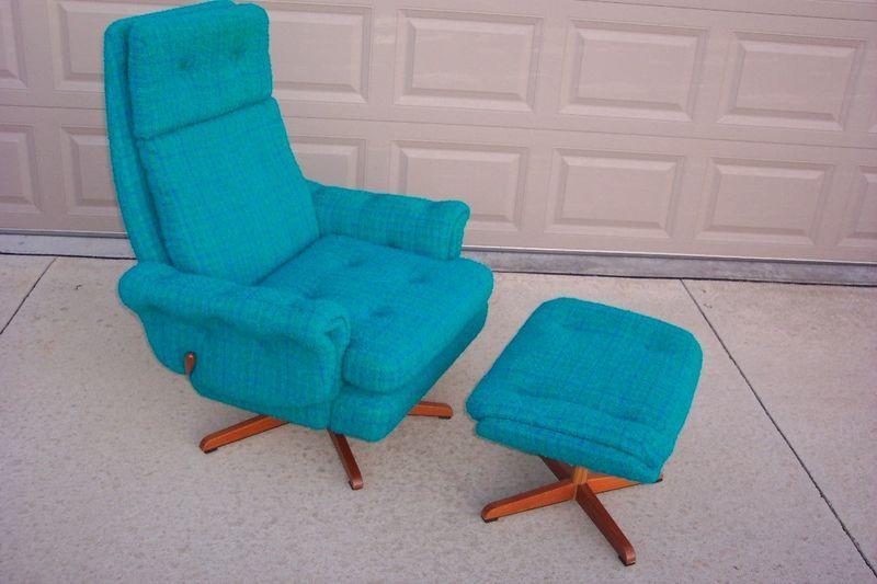 Mid Century Danish Turquoise Lounge Rock Swivel Chair Matching Ottoman Mid Century Swivel Chair Turquoise Chair Chair And Ottoman