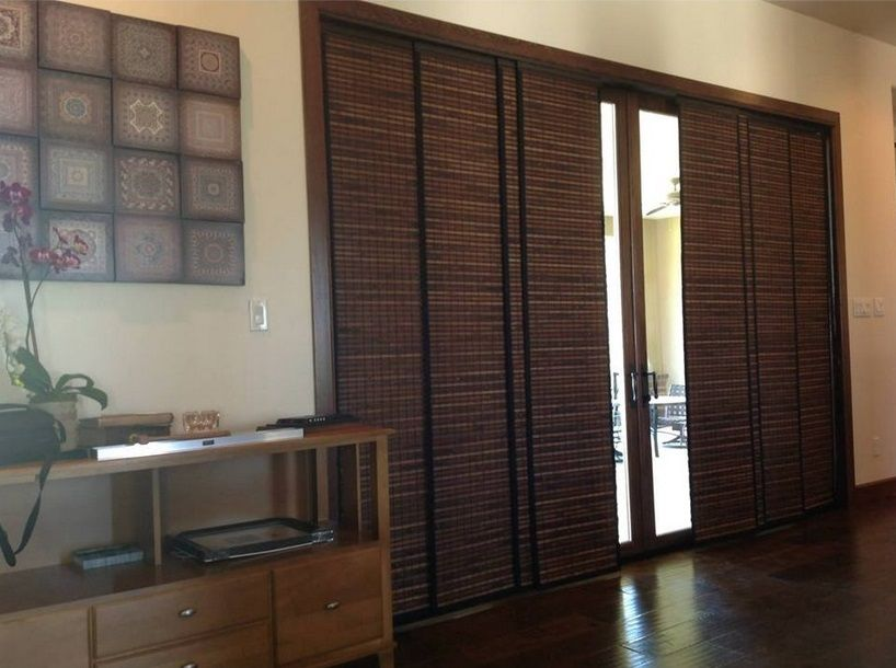 Woven wood panel tracks sliding glass door ideas for Panel tracks for patio doors